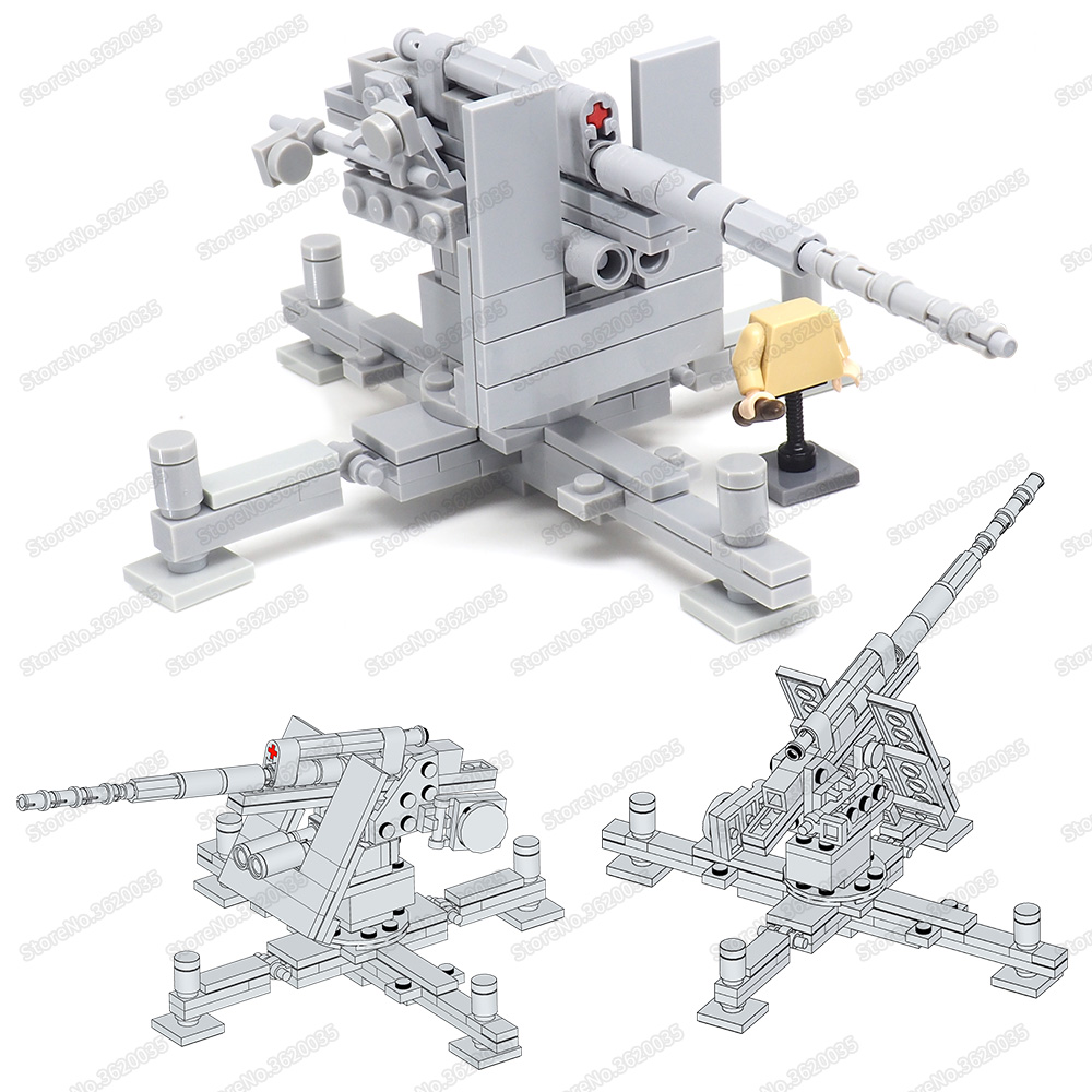 Military WW2 German Anti-aircraft Artillery Building Block Moc Army Figures Soldier Fight Air Force Weapons Model Child Gift Toy