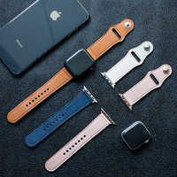 Schwarz strap Für apple watch band 42mm 38mm iwatch 5 band 44mm 40mm Echtes Leder armband armband apple watch 5 4 3 2 1