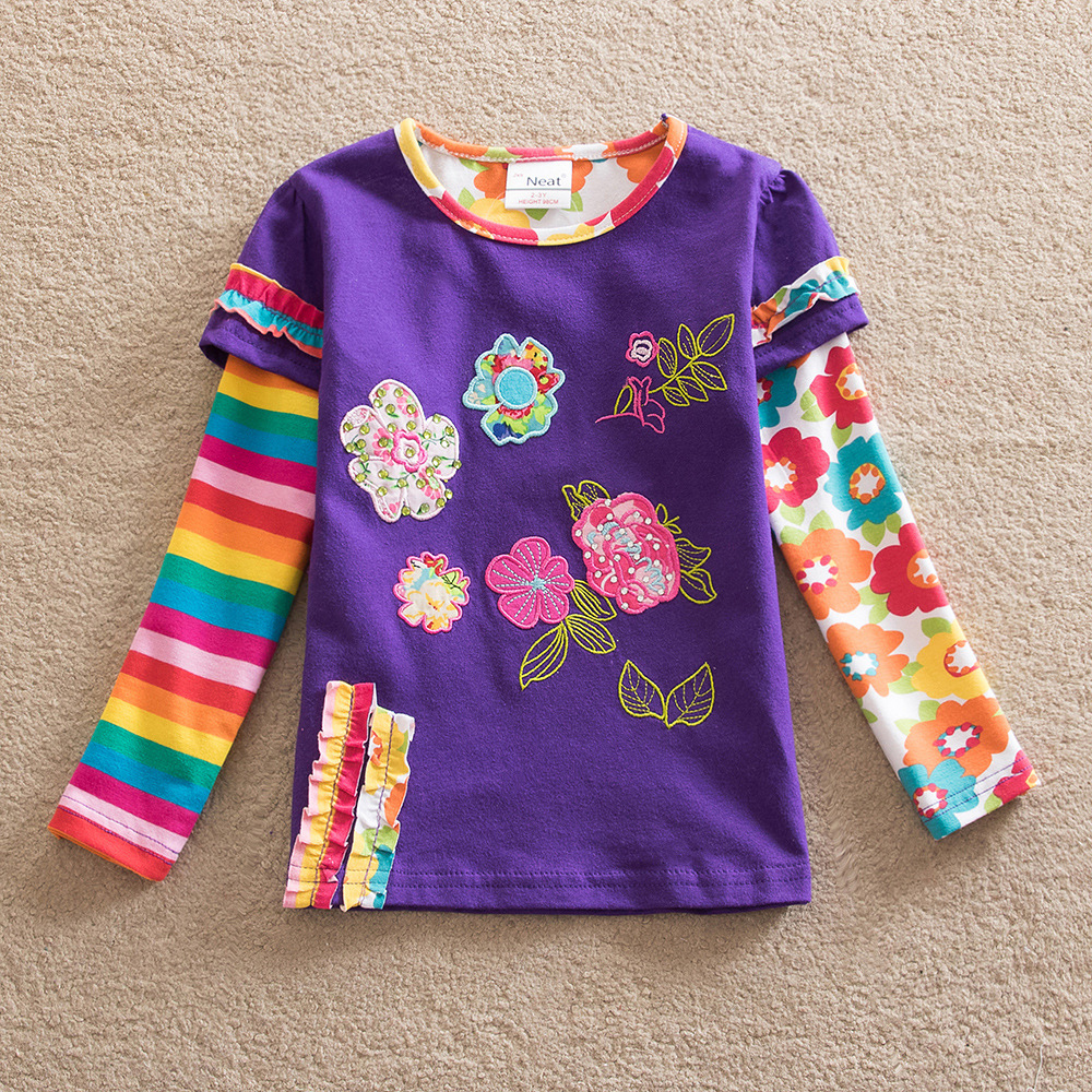 Purple Cow Childrens Black Cotton Long Sleeve Round Neck T Shirt for Boy Or Girl