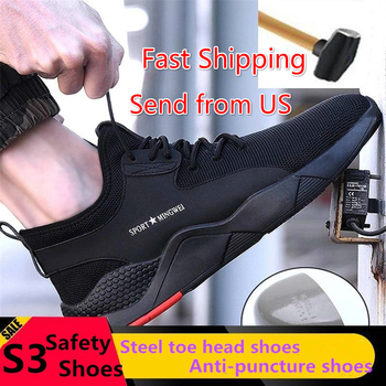 S3 Level Men's Steel Toe Work Safety Shoes Casual Breathable Outdoor Sneakers Puncture Proof Boots Comfortable Industrial Shoes yutoko stainless steel door stop casting powerful floor mounted magnetic holder 46mm 47mm satin nickel brushed door stopper