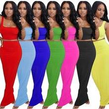 CM.YAYA kobiety stałe mini tank topy maxi spódnice midi garnitur dwuczęściowy zestaw sportowy pasujący zestaw strój długa sukienka w stylu casual dres