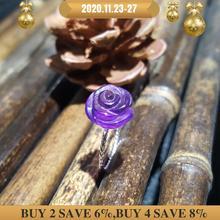 LiiJi Unique 925 ametyst srebrny szterling Rose, niebieski akwamaryn kryształ, Opal kryształowy kwiat pierścionek z perłą dla kobiet dziewczyn prezent