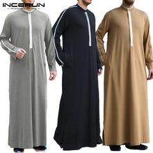 Roupas islâmicas dos homens muçulmano árabe kaftan 2021 gola de manga longa roupões retalhos arábia saudita dubai homem jubba thobe incerun