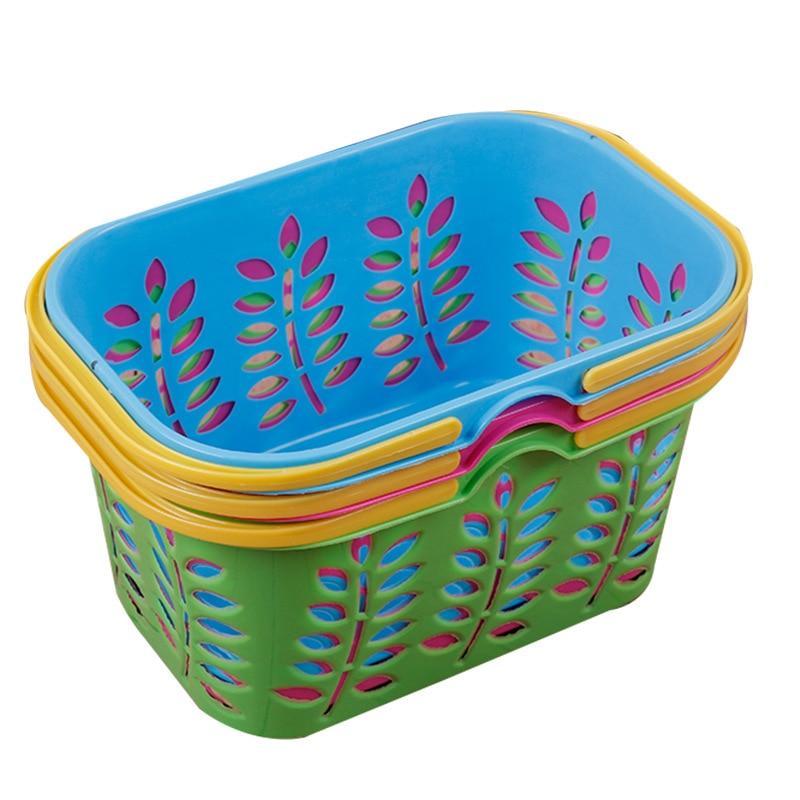 Plastic Basket Portable Basket Thick Square Mouth Children's Shower Bath Basket 5 Yuan Shop Nine Yuan Stall