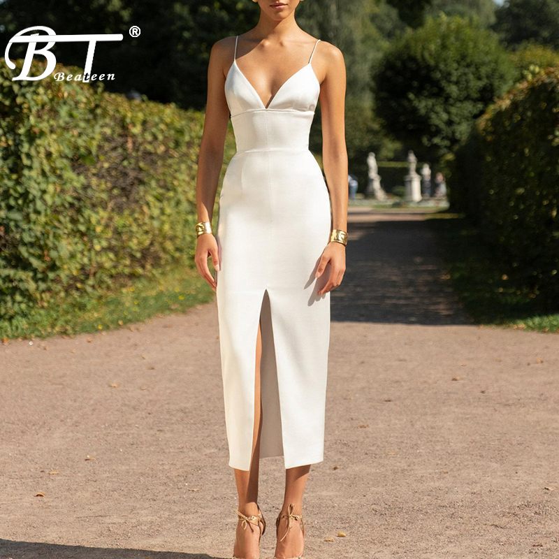 Beateen 2019 New Fashion  Spaghetti Strap Fringe Detailing Slit Women Bandage Party Dress White