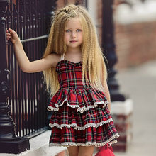 girl dresses 1-5 Years girls princess for newborn toddler elegant dress plaid sleeveless Smocked Ruffle Pom-pom Cake red blue(China)