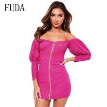 FUDA Sexy Temperament Women Long Sleeve Off Shoulder Mini Bodycon Zipper Dress Ladies Casual Autumn Bandage Solid Party