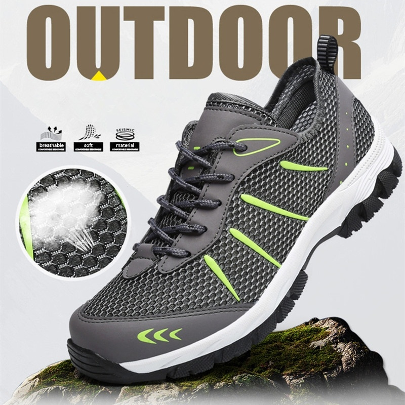 Hiking Shoes Mens mesh Sports Off-Road Outdoor shoes-Lightgray-41