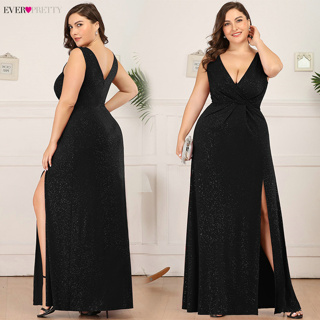 Plus Size Sparkle Evening Dresses Ever Pretty A-Line Double V-Neck Sleeveless Side Split Sexy Formal Party Gowns Robe De Soiree 1