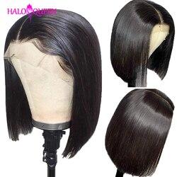 HALOQUEEN Gerade Kurze Bob Menschliches Haar Perücken 13x4 Remy Haar 130% Dichte Gerade Spitze Perücken Brasilianische Spitze Vorne menschliches Haar Perücken