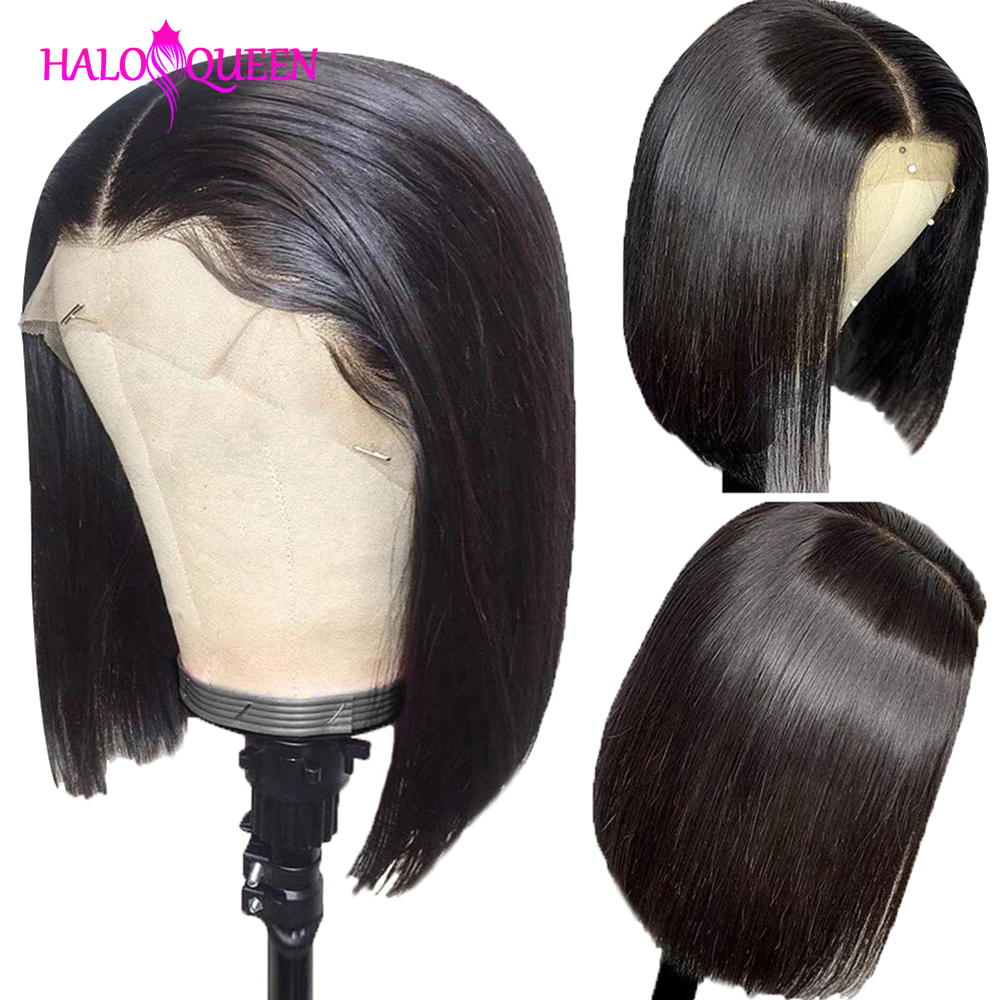 HALOQUEEN Straight Short Bob Human Hair Wigs 13x4 Remy Hair 130% Density Straight Lace Wigs Brazilian Lace Front Human Hair Wigs