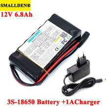 SMALLDEN 12v 6.8 Ah 6800mAh 18650 akumulator litowy akumulatory BMS do monitora światła awaryjne + ładowarka 12.6v 1A