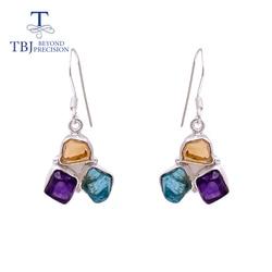 TBJ ,handmade 3 stone  hook earring natural Gemstone Rough original citrine apatite amethyst 925 sterling silver fine  Jewelry