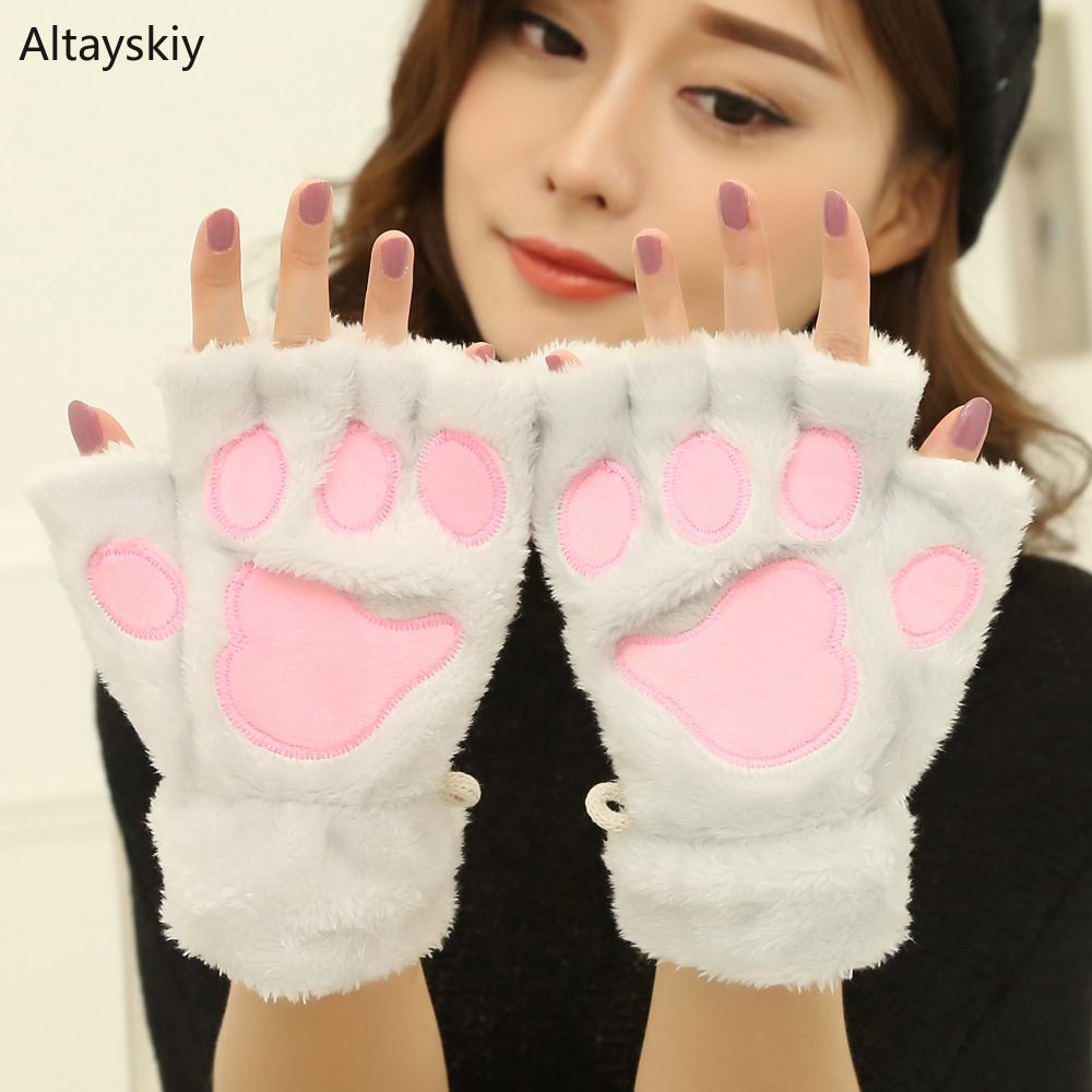 Gloves Women Soft Plush Kawaii Cat Claw Bear Paw Half-fingered Plus Velvet Winter Warm Womens Glove Lovely All-match Cute Trendy