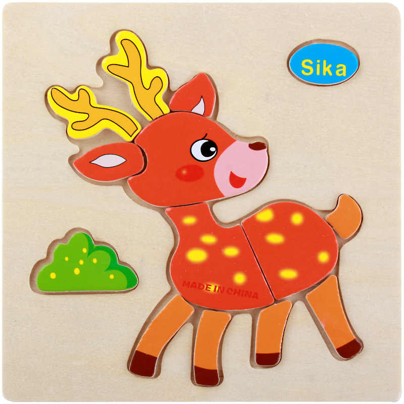 Деревянная игрушка-пазл развивающие, Обучающие Детские Обучающие милые игрушки Sika для детей животные головоломка детский подарок на день
