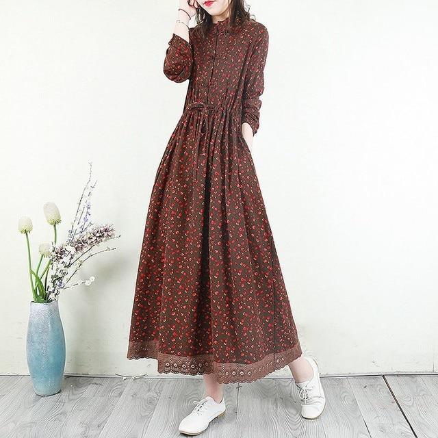 Women Cotton Linen Long Dress New Arrival 2021 Spring Vintage Floral Print Patchwork Lace Loose Female Casual Dresses D024 1