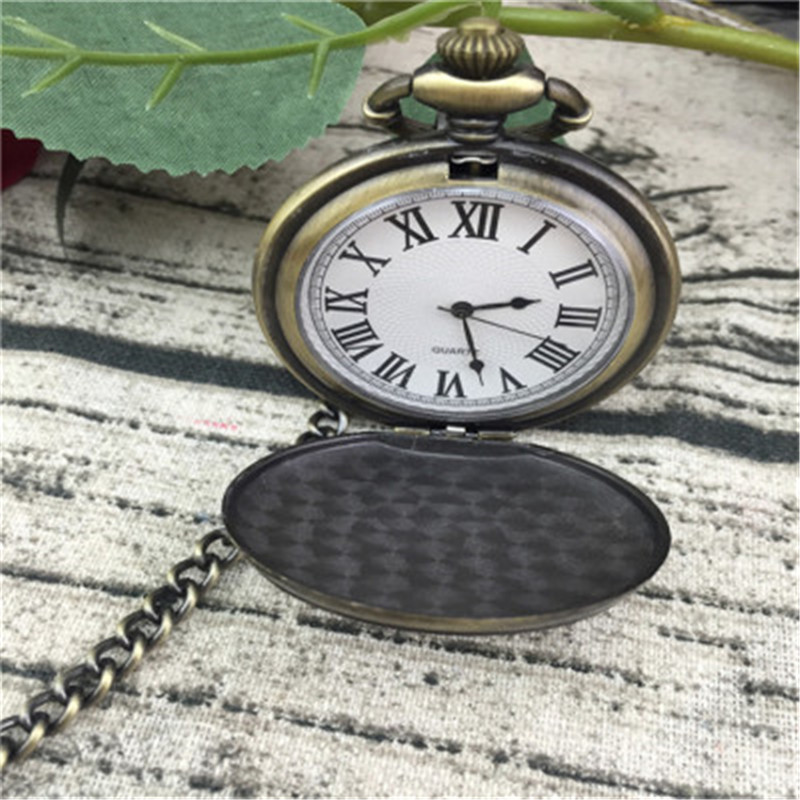 Large New Classic Dad Retro Retro Flip Quartz Pocket Watch Bronze Rome