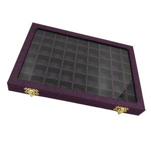 Image 4 - Hat kutusu 54 ızgaraları şeffaf cam kapaklı yüzükler tutucu vitrin takı ambalaj organizatör mücevher kutusu küpe kolye bilezik