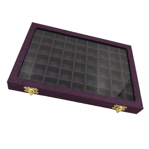 Image 4 - Line Board 54 Grids Clear Glass Lid Rings Holder Showcase Jewelry Case Organizer Jewelry Box for Earrings Necklaces Bracelets