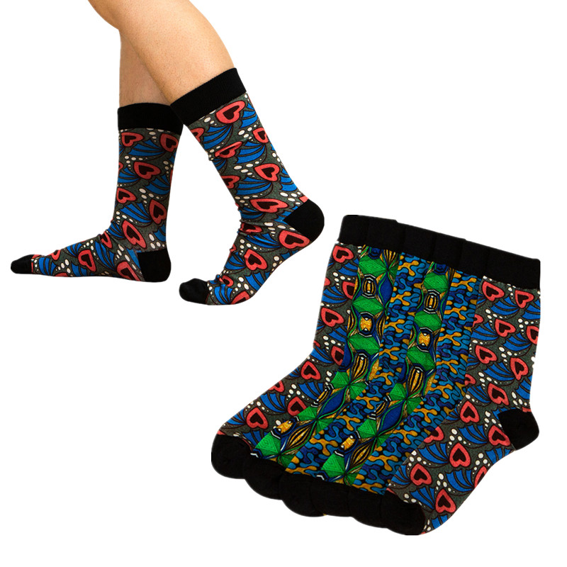 3 Pairs/pack Cotton Socks For Women Girl Classic African Print Colorful African Socks Fashion Winter Socks Christmas Gift WYB476