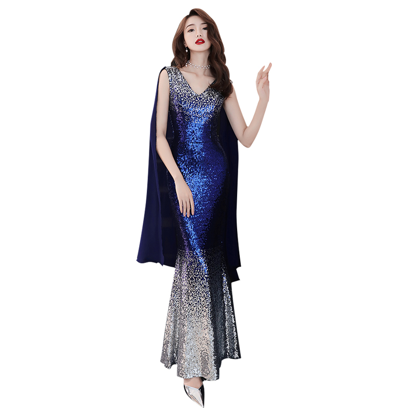 Evening     Dress   Sexy V-neck Sequin Women Party   Dresses   2019 Backless Zipper Robe De Soiree Sleeveless Elegant Formal Gowns F055