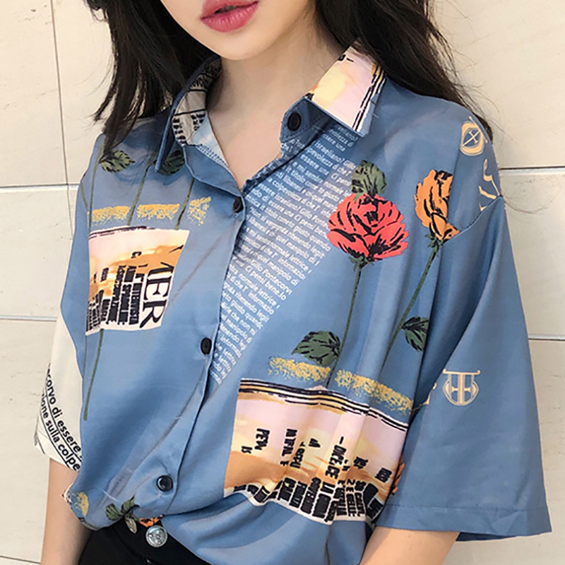 Z 2019 Summer Women Tops And Blouses Retro Chiffon Rose Print Slim Short Sleeve Lapel Single Buckle Blusas Mujer De Moda 2019