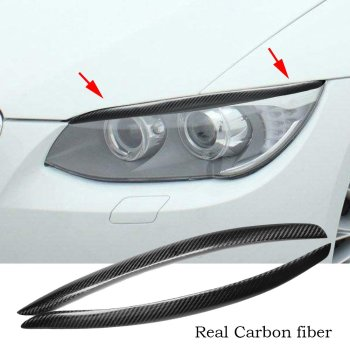 Real Carbon Fiber Headlight Eyelid Eyebrow Cover For BMW 3 Series E92 M3 2005-2012 image