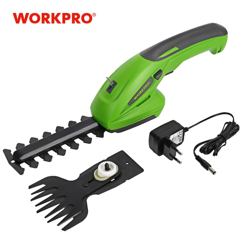 WORKPRO 7.2V Electric Trimmer 2 In 1 Lithium-ion Cordless Garden Tools Hedge Trimmer Rechargeable Hedge Trimmers For Grass