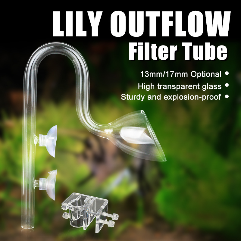 Outflow Lily Pipe Aquarium Plant Fish Tank Glass Pipe with 2PCS Suction Cups Acrylic Pipe Holder 13mm Pipe for 13mm 17mm Tubing in Cleaning Tools from Home Garden