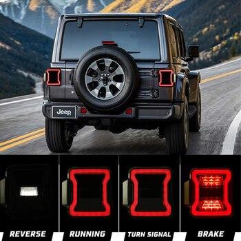 Pair Smoke Rear LED Taillight USA Version LED Tail Lamp for Jeep Wrangler JL 2018 2019 with Reverse Light Brake Turn Signal