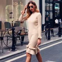 2019 Autumn Round Neck Sweater Knitted Dress O-Neck Women Retro Long Sleeve Ruffles Casual Dress Knee Length Loose Dresses new women slash neck irregular hem cashmere sweater dress long sleeve knee length knitted mermaid dress spring autumn bottoming
