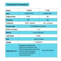 ווקי טוקי 2pcs Retevis RT666 / RT66 מכשיר קשר PMR רדיו UHF PMR 446 USB VOX טעינת שתי דרך רדיו המשדר Comunicador ווקי טוקי (4)