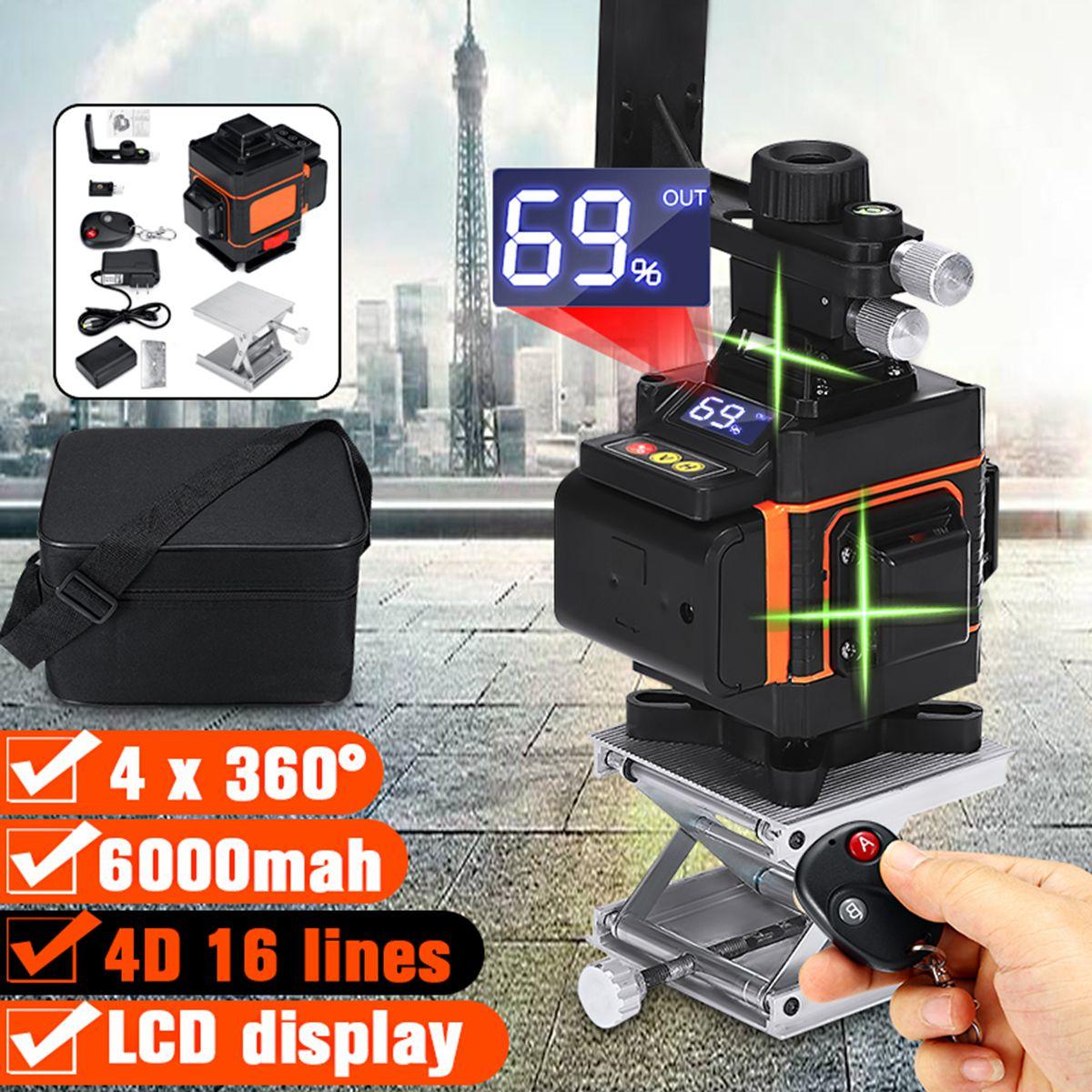 4D 16 Linien Laser Level Grün Licht Led-anzeige Auto Selbst Nivellierung 360 ° Dreh Kreuz Messen Fernbedienung Wasserdicht IP54