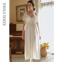 Camisón clásico para mujer, ropa de dormir larga, Vintage, blanco, de talla grande, para casa, noche, lencería, T694