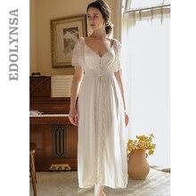 Vintage Nightgown White Long Sleepwear Vintage White Plus Size Women Home Wear Night Dress For Wedding Nightwear Lingerie T694