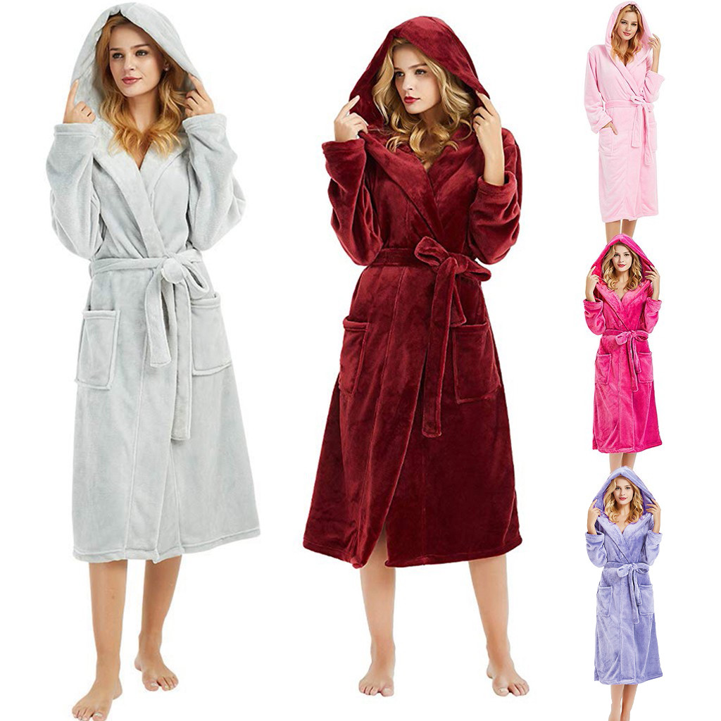 Sleepwear Bathrobe Hooded Plush-Shawl Long-Sleeved Warme 5XL Kleding-Coat Lengthened title=