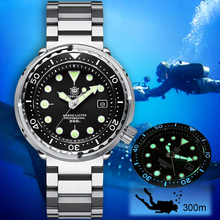 Стальные механические часы для ныряния с тунцом, модель 1975 года, 300 м, часы для ныряния, Мужские автоматические часы s NH35, мужские стальные часы для дайвинга, роскошные светящиеся часы C3