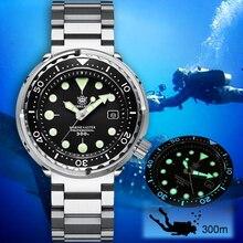 Steeldive 1975 atum relógio mecânico masculino 300m diver relógio dos homens nh35 relógio automático de aço masculino relógios de mergulho luxo c3 luminoso