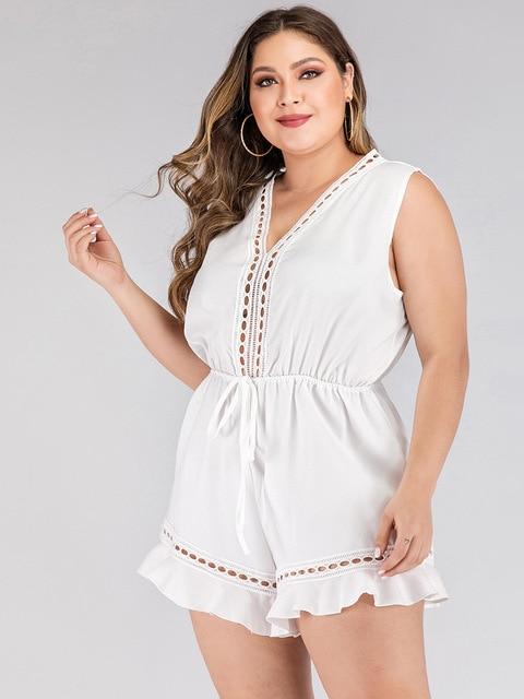 2020 fashion summer plus size jumpsuit for women large sleeveless loose casual V neck short jumpsuits belt white 3XL 4XL 5XL 6XL 4