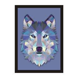 Смешанные цвета, Геометрическая голова волка, декоративная живопись, детская комната, настенные украшения, живопись, креативный дом