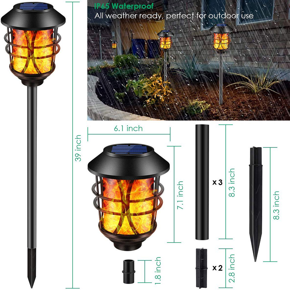 2Pcs Solar Lights Metal Flickering Flame Torches Lights Waterproof Pathway Lights Auto On/Off for Garden Patio Yard 17cm * 102cm|LED Outdoor Wall Lamps| |  - title=