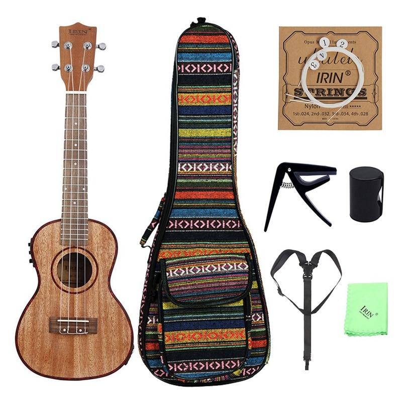 ABZB-Irin 24 Inch Ukulele Ukelele Uke Kit Sapele Wood With Lcd Eq Including Carrying Bag Capo Strings Strap Finger Maraca Cleani