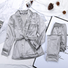 warm velvet pajamas for women, robes and pants, long sleeve with solid pocket, thick underwear for home,