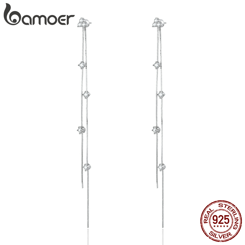 Bamoer Clear CZ Long Tassel Drop Earrings For Women Real 925 Sterling Silver Wedding Engagement Statement Jewelry SCE834