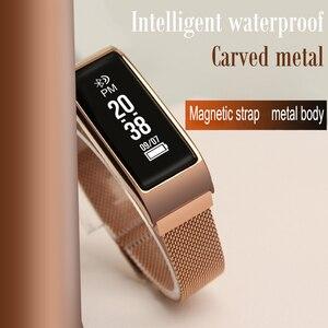 Pulseira inteligente de metal tela colorida ip67 à prova dip67 água pressão arterial atividade freqüência cardíaca fitness pulseira inteligente