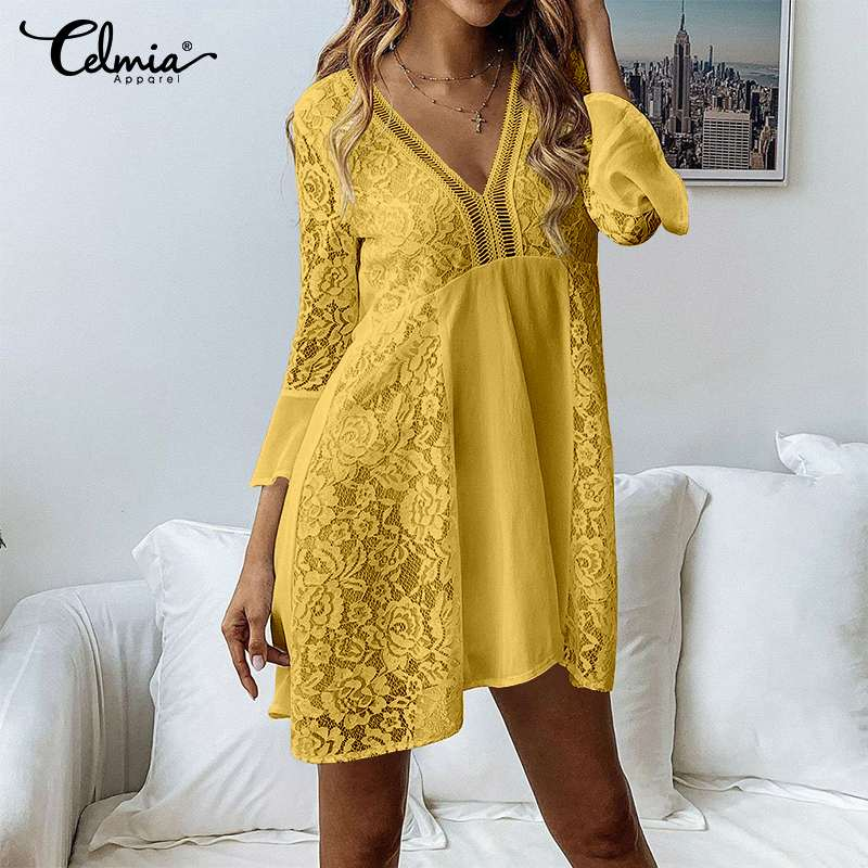 Celmia Women Lace Party <font><b>Dress</b></font> 2019 Summer <font><b>Sexy</b></font> V Neck Lace Crochet Hollow Vestidos Femme Robe Casual Loose Short Mini <font><b>Dress</b></font> <font><b>5XL</b></font> image