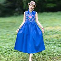 KYQIAO vestidos de fiesta de noche vestido azul mujer invierno bohemio cuello cuadrado sin mangas bordado vestido ropa mujer