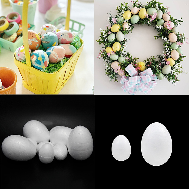 50Pcs Happy Easter Decoration Foam Egg Mold Painted Egg Rattan Wreath Crafts Hanging Easter Eggs Modelling for Easter Party