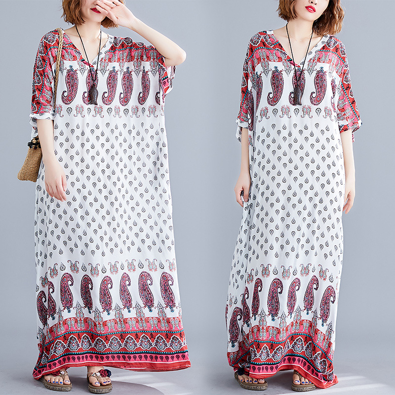 2019 New Style Loose-Fit And Big V-neck Short Sleeve Cotton Linen Tie-dye Ethnic-Style Color Printing Bohemian Dress