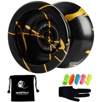 Магический йо-йо N11 сплав алюминия Профессиональный Йо-Йо не реагирующий мяч (черный золотой) сумка, перчатки 5 струн
